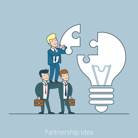 work team: Partnership Idea men support pyramid. Linear teamwork flat line art style business people concept. Conceptual businesspeople team work vector illustration collection. Huge lamp puzzle.