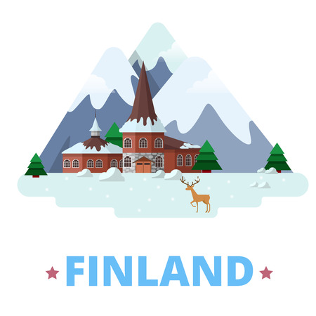 europe travel: Finland country magnet design template. Flat cartoon style historic sight showplace web site vector illustration. World vacation travel Europe European collection. Santa Claus Village Residence.