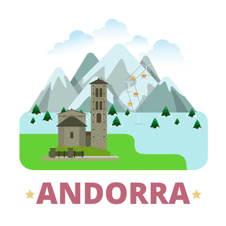 sightseeings: Andorra country badge fridge magnet design template. Vallnord Sant Joan de Caselles. Flat cartoon style sight web site vector illustration. World vacation travel sightseeing Europe European collection Illustration