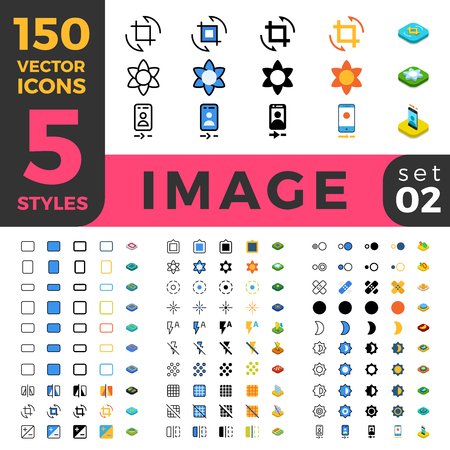 healing process: 150 Photo Image ui icon set. Linear outline flat isometric 5 styles icons. Five style vector mobile app application software interface web site element sign symbol 2d 3d object collection. Illustration