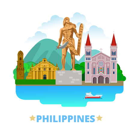 country church: Philippines country flat cartoon style historic sight showplace web vector illustration. World travel sightseeing Asia Asian collection. Lapu-Lapu Monument Mactan Island Baguio Cathedral Paoay Church.