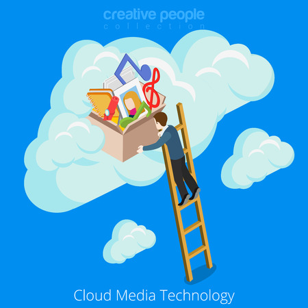 happy business man: Cloud media technology concept design. Accumulation Business information conceptual web site vector illustration. Man climbing stairs storage of memories fun happy music photo notes on blue background Illustration