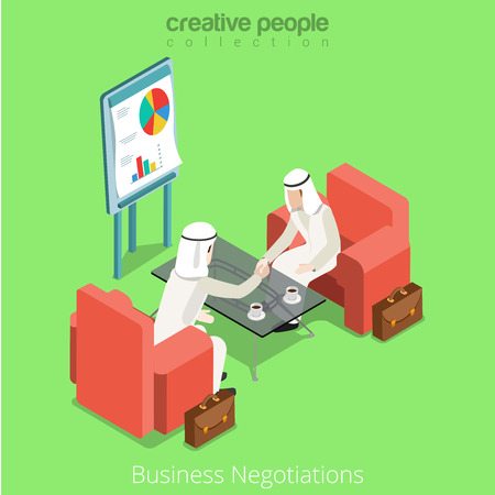 business contract: Isometric arabic islamic muslim businessman business meeting contract deal handshake negotiations negotiate concept vector illustration. Flat 3d isometry style creative people collection. Illustration