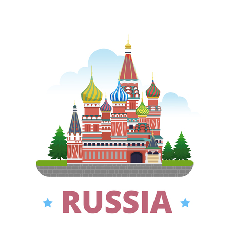 points of interest: Russia country magnet whimsical design template. Flat cartoon style historic sight showplace web site vector illustration. World vacation travel sightseeing Asia Asian collection.  St. Basil Cathedral