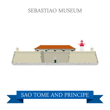 forte: Sebastiao Museum in Sao Tome and Principe. Flat cartoon style historic sight showplace attraction web site vector illustration. World countries cities vacation travel sightseeing Africa collection.