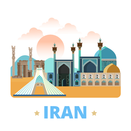 asia style: Iran country design template. Flat cartoon style historic sight showplace web site vector illustration. World vacation travel sightseeing Asia Asian collection. Azadi Tower Imam Shah Mosque Persepolis Illustration