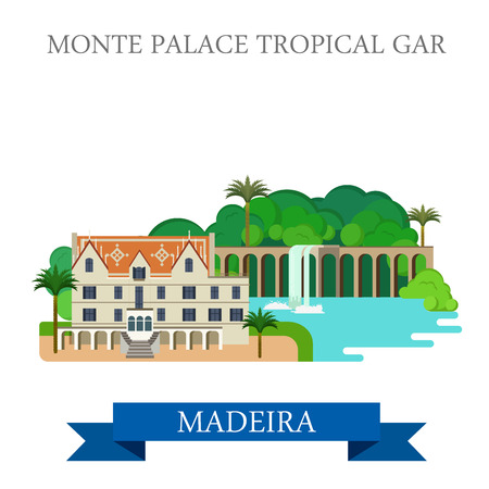 madeira: Monte Palace Tropical Garden in Madeira Portugal. Flat cartoon style historic sight showplace attraction web site vector illustration. World countries cities vacation travel sightseeing collection Illustration