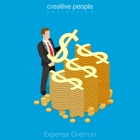 Isometric Expense Overrun business concept. Flat 3d isometry style web site vector illustration. Creative people collection. Man hold symbol dollar spend money expensive coin over limit overdraft.