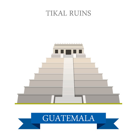 central america: Tikal Ruins in Guatemala. Flat cartoon style historic sight showplace attraction web site vector illustration. World countries cities vacation travel sightseeing Central America collection.