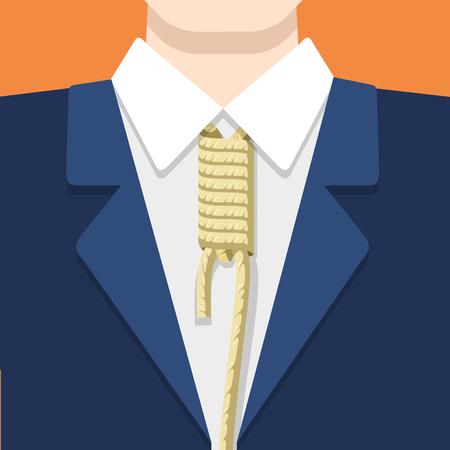 node: Businessman in suit shirt and rope tie on orange background. Business concept vector flat style illustration. Node shackles on mans neck.