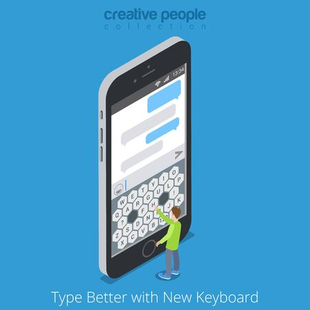 man at the phone: Isometric Custom Virtual Keyboard. Better Touch Screen Mobile Phone Tablet Typing concept. Flat 3d isometry big smartphone and micro man type message chat. Creative people collection. Illustration