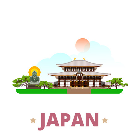 sightseeings: Japan country design template. Flat cartoon style historic sight showplace web site vector illustration. World vacation travel sightseeing Asia Asian collection. Great Buddha Kamakura Todai-Ji Nara.