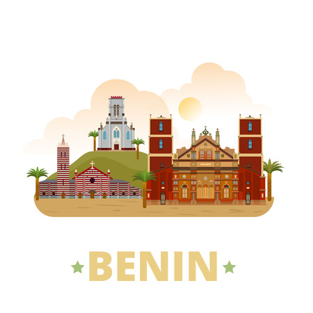 sightseeings: Benin country design template. Flat cartoon style historic sight showplace web site vector illustration. World travel sightseeing Africa African collection. Mosque Basilica Ouidah Cotonou Cathedral.