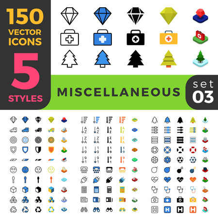 care symbol: 150 miscellaneous misc health care ui icon set. Linear outline flat isometric 5 styles icons. Vector mobile app application software interface web site element sign symbol 2d 3d object collection. Illustration