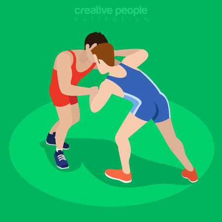 Isometric freestyle wrestling fight sports concept. Flat 3d isometry web site conceptual vector illustration. Creative people collection. Vektorové ilustrace