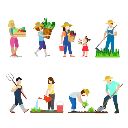 raising cans: Family life in garden creative vector icon set. Young man woman children gardening illustration on white background. People grow farm plants. Scythe shovel pitchfork watering can bucket basket box.