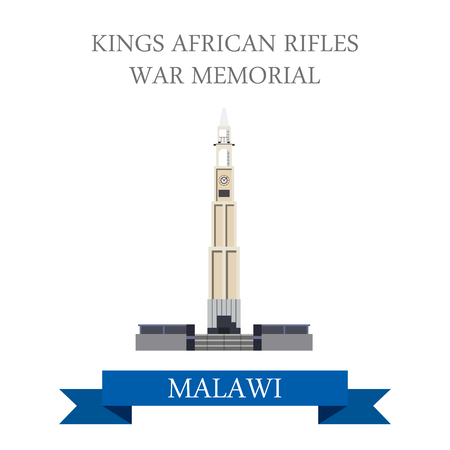 points of interest: Kings African Rifles War Memorial in Zomba Malawi. Flat cartoon style historic sight showplace attraction web site vector illustration. World countries cities vacation travel sightseeing collection.