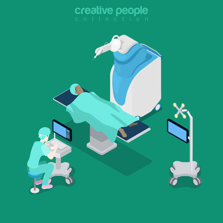 computer equipment: Robotic robot-assisted brain surgery medical hospital healthcare computer electronic modern equipment doctor operator. Flat 3d isometry style web site vector illustration. Creative people collection. Illustration