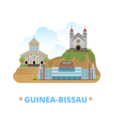 web site design template: Guinea-Bissau country design template. Flat cartoon style historic sight showplace web site vector illustration. World travel Africa African collection. National Peoples Assembly Bissau Cathedral.