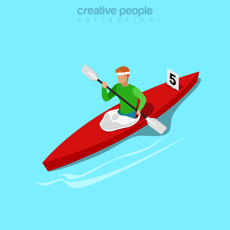 rafter: Isometric kayaker rowing sports concept. Flat 3d isometry web site conceptual vector illustration. Creative people collection. Illustration
