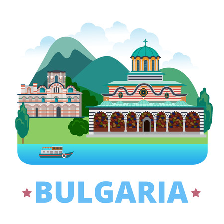sightseeings: Bulgaria country design template. Flat cartoon style web site vector illustration. World vacation travel sightseeing Europe European collection. Rila Monastery, Church of Christ Pantocrator Nesebar. Illustration