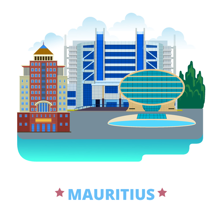 mauritius: Mauritius country design template. Flat cartoon style historic sight web vector illustration. World vacation travel sightseeing Africa African collection. Commercial Bank Ebene Cyber State Bank Tower. Illustration