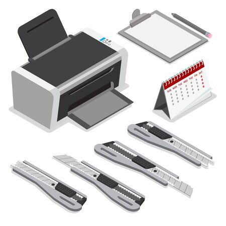 laser printer: Isometric laser ink printer clipboard calendar office paper knife pencil vector icon set. Flat 3d isometry mockup template concept. Computer peripheral device stationery supplies.