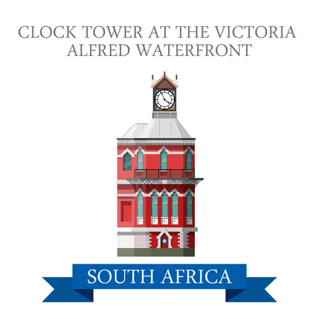 sightseeings: Clock Tower at the Victoria Alfred Waterfront in South Africa. Flat cartoon style historic sight showplace attraction web site vector illustration. World countries travel sightseeing Africa collection