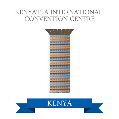 points of interest: Kenyatta International Convention Centre in Nairobi Kenya. Flat cartoon style historic sight showplace attraction web site vector illustration. World vacation travel sightseeing Africa collection.