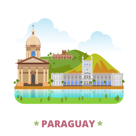 Paraguay country flat cartoon style historic sight web vector illustration. World vacation travel South America collection. National Pantheon Heroes La Santisima Trinidad De Parana Palacio De Lopez Illustration