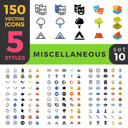 web icon: 150 miscellaneous vacation ui icon set. Linear outline flat isometric 5 styles icons. Five style vector mobile app application software interface web site element sign symbol 2d 3d object collection.