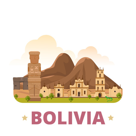 country church: Bolivia country design template. Flat cartoon style historic sight showplace web vector illustration. World vacation travel South America collection. San Francisco Church La Paz Ancient city Sun Gate.