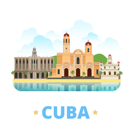 web site design template: Cuba country badge fridge magnet design template. Flat cartoon style historic sight showplace web site vector illustration. World vacation travel sightseeing North America collection. Illustration