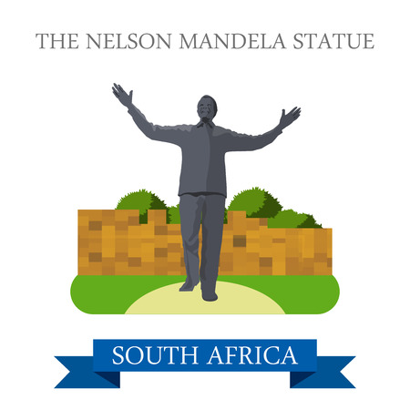 mandela: The Nelson Mandela Statue in Johannesburg in South Africa. Flat cartoon style historic sight showplace attraction web site vector illustration. World countries cities travel Africa collection.