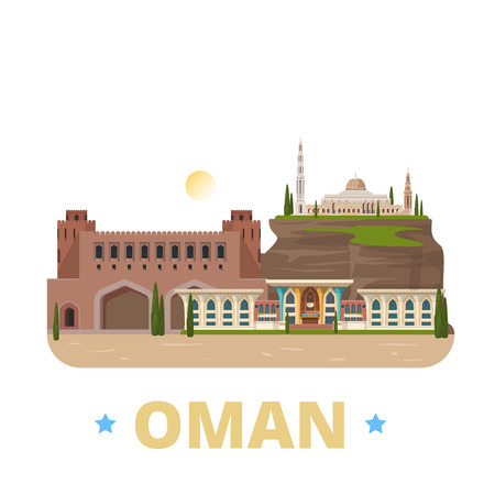 asia style: Oman country design flat cartoon style historic showplace web site vector illustration. World vacation travel sightseeing Asia Asian collection. Al Alam Palace Sultan Qaboos Grand Mosque Muscat Gate.