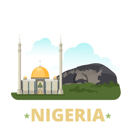 Nigeria country design template. Flat cartoon style historic sight showplace web site vector illustration. World vacation travel sightseeing Africa African collection. Zuma Rock Abuja National Mosque.