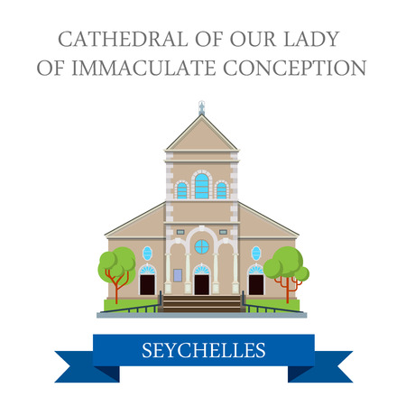conception: Cathedral of Our Lady of Immaculate conception in Seychelles. Flat cartoon style historic sight showplace attraction web site vector illustration. World countries cities vacation travel sightseeing. Illustration