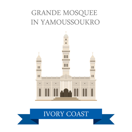 sightseeings: Grande Mosquee in Yamoussoukro Ivory Coast. Flat cartoon style historic sight showplace attraction web site vector illustration. World countries cities vacation travel sightseeing Africa collection.