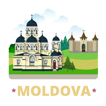 monastery: Moldova country design template. Flat cartoon style historic sight showplace web site vector illustration. World vacation travel sightseeing Europe European collection. Soroca Fort Capriana Monastery.