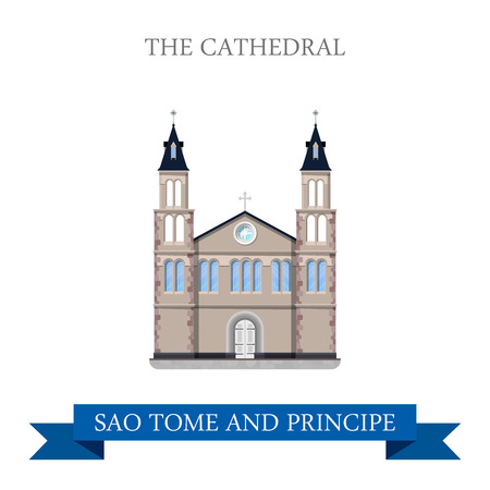 sightseeings: The Cathedral in Sao Tome and Principe. Flat cartoon style historic sight showplace attraction web site vector illustration. World countries cities vacation travel sightseeing Africa collection. Illustration