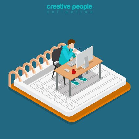 work table: Isometric Mobile office work business concept. Flat 3d isometry web site conceptual vector illustration. Creative people collection. Man working table huge notebook calendar monitor chair freelancer. Illustration