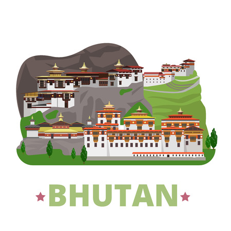 asia style: Bhutan country design template. Flat cartoon style historic sight showplace web site vector illustration. World travel Asia collection. Pungthang Dewachen Gi Phodrang Punakha Buddhist Taktshang Goemba