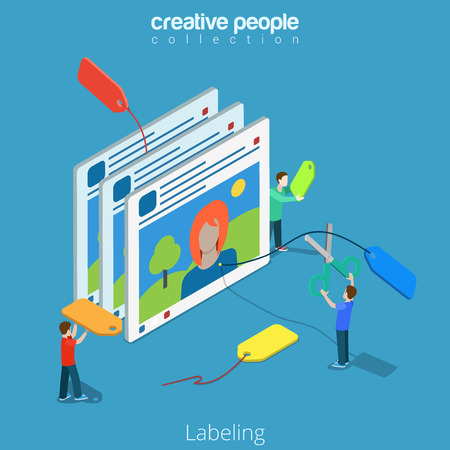 Isometric Labeling social network labels concept. Flat 3d isometry style web site vector illustration. Creative people collection. Man with scissors cut off label picture photo woman prepossession. Illustration