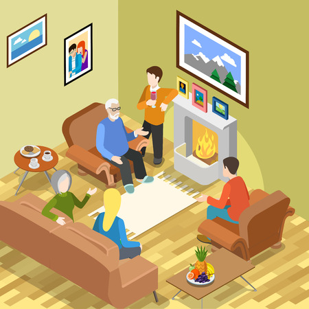pastime: Isometric family home pastime fireplace coffee time spending relax vector concept. Flat 3d isometry parents children daughter son father mother. Creative people collection. Illustration