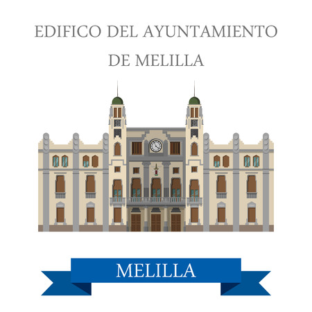 del: Edificio del Ayuntamiento de Melilla. Flat cartoon style historic sight showplace attraction web site vector illustration. World countries cities vacation travel sightseeing Africa collection. Illustration