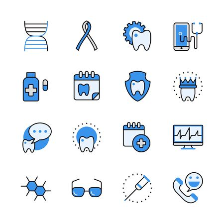 aplication: Health care medical dental help tooth lineart flat vector icon set. Web site interface elements color line art mobile app aplication objects. Line-art icons collection.