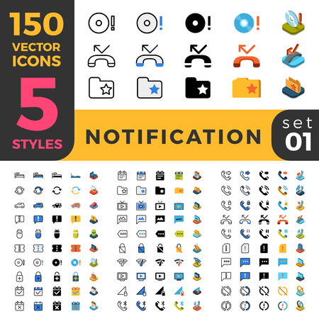 missed: 150 Notification bar reminder ui icon set. Linear outline flat isometric 5 styles icons. Five style vector mobile app application software interface web site element sign symbol 3d object collection
