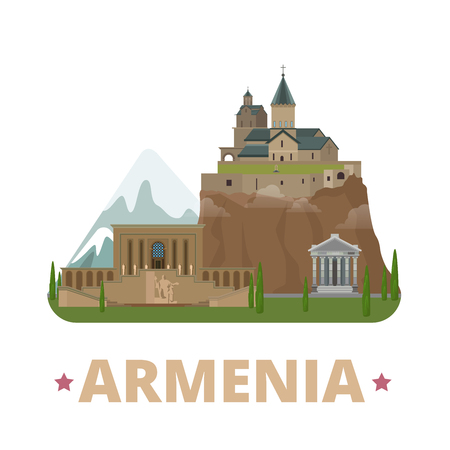 monastery: Armenia country design template. Flat cartoon style historic sight web site vector illustration. World vacation travel Asia Asian collection. Matenadaran in Yerevan Geghard Monastery Temple of Garni.