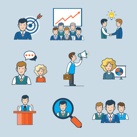 Linear flat line art style business people concept icon set. Targeting report idea partnership chat discuss announce promote speaker conference search team. Conceptual vector illustration collection. Ilustração