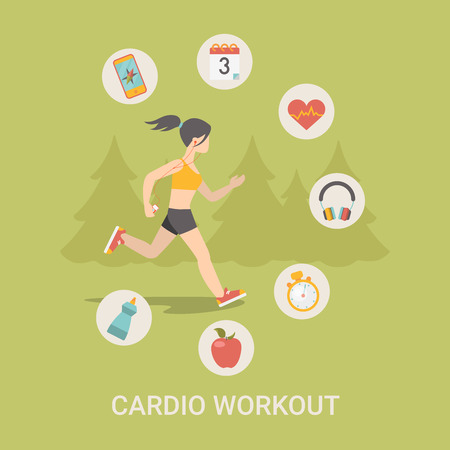 good food: Healthy life concept vector illustration set. People sports health farm fresh food web site banner image. Woman workout Infographics on green spruce background.